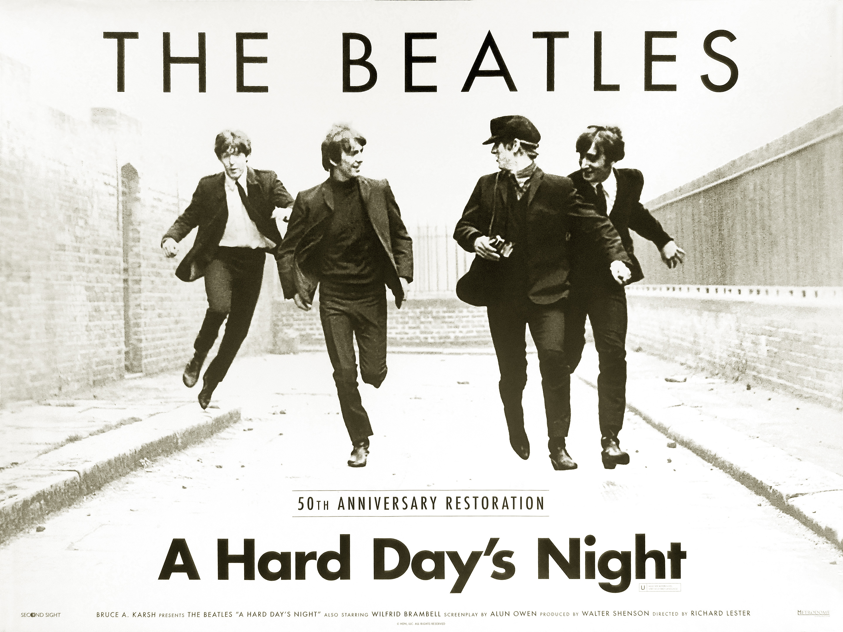 The Beatles - A Hard Day's Night 50th anniversary re-release movie quad poster